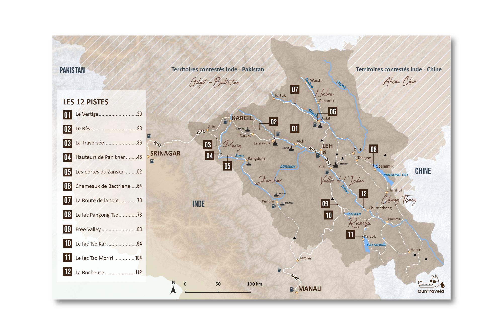 itinéraire moto ladakh